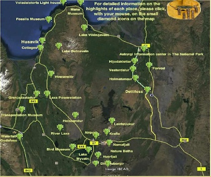 DIAMOND CIRCLE (satelite photo) has the most interesting and beautiful places in Iceland